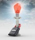 Red lighted bulb warning concept on blue sky Royalty Free Stock Image