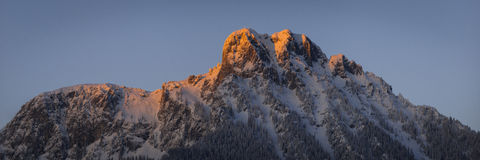 Red lighted summit of tyrol mountain Royalty Free Stock Photography
