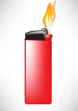 Red lighter with flame Royalty Free Stock Image