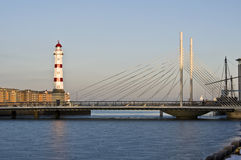 Red lighthouse. Beautiful red striped lighthouse in Malmoe, Sweden Royalty Free Stock Images