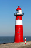 Red lighthouse. In Zeeland, Netherlands Royalty Free Stock Photography