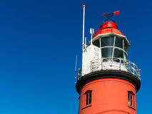 Red lighthouse. Against a clear blue sky Stock Image