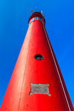 Red lighthouse from bottom Royalty Free Stock Photo
