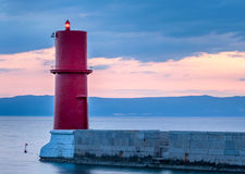 Red lighthouse in Cres Croatia. Sunset at the red lighthouse in Cres Croatia Stock Photos