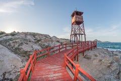 Red lighthouse footbridge Cabo Pulmo Baja California national park panorama. Cabo Pulmo Baja California national park panorama landscape with Red lighthouse Royalty Free Stock Image