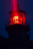 Red lighthouse illuminated Royalty Free Stock Images