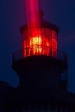 Red lighthouse illuminated Royalty Free Stock Images