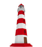 Red Lighthouse Isolated. On white background. 3D render Royalty Free Stock Photo