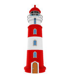 Red Lighthouse Isolated. On white background. 3D render Royalty Free Stock Image