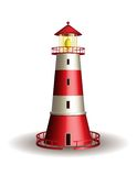 Red lighthouse isolated on white background. Royalty Free Stock Images