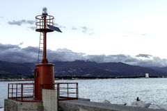 Red lighthouse. In marina di Carrara Stock Photo