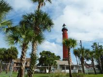 Red lighthouse at the museum Royalty Free Stock Photos