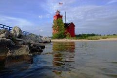 Red lighthouse near Lake Michigan Royalty Free Stock Image