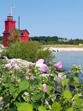 Red Michigan lighthouse with hibiscus flower Stock Photos