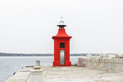 Red lighthouse of Piran, city on the coast of Slovenia Royalty Free Stock Photo