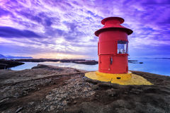 Red lighthouse in Stykkisholmur, Iceland Stock Photo