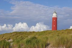 Red lighthouse Texel stock photo