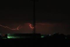 Red lightning Stock Image
