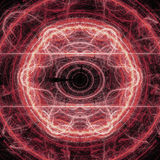 Red Lightning Circle Fractal Art Concept With Shining Stock Photos