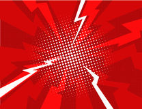 Red lightning explosion pop art comic style background Royalty Free Stock Photo