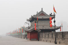 Red lights along the wall of brick. China Royalty Free Stock Image