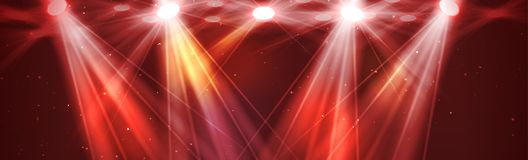 Red lights. Blur rays with spotlights for magic shiny background. Vector vector illustration