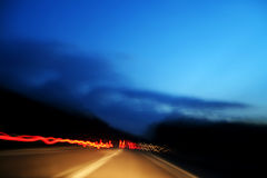 Red lights made from fast car in highway Stock Photography