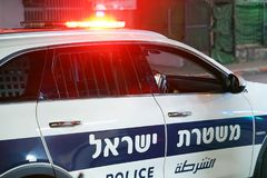 Red lights on top of Israeli police car royalty free stock photography