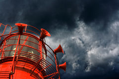 Red lightship with fog horns Stock Photo