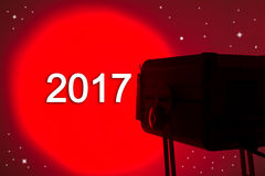 Red lightspot for stage written 2017 on air. Red lightspot for stage written 2017 Royalty Free Stock Photo