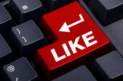 Red like button on the  keyboard Royalty Free Stock Photography
