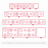 Red like follower comment icon. Royalty Free Stock Image