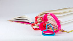 Red lilac and blue hearts laying behind an open diary book Stock Photo