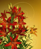 Red Lilies. A bouquet of lilies in red and yellow colors Stock Photos