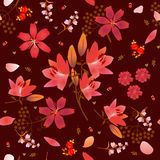 Red lilies flowers ditsy seamless pattern in vintage style vector illustration