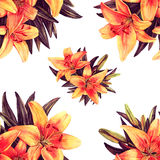Red lilies illustration seamless pattern. Red lilies watercolor illustration seamless pattern Stock Images