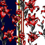 Red lilies pattern seamless. Summer  autumn flowers textile collection. Red lilies pattern seamless. Summer  autumn flowers textile Stock Image