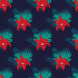 Pattern with lilies. Red lilies with tropical leaves on a dark blue background, floral seamless pattern Royalty Free Stock Photo