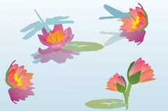 Red Lily And Dragonflies Illustration Royalty Free Stock Photos