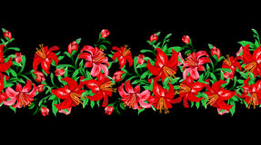 Red lily on black background seamless Royalty Free Stock Images