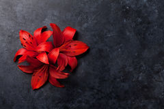 Red lily flowers. On dark stone background with space for your greetings. Top view Royalty Free Stock Photography