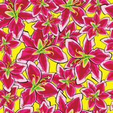 Red lily of seamless pattern Royalty Free Stock Images