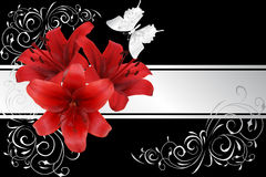 Red lily and silver butterfly Stock Photography
