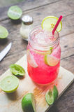 Red Lime Soda Soda beverage A mixture of Red nectar, salt, lemon. And soda mixed together to refresh and quench thirst Stock Photography