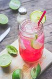 Red Lime Soda Soda beverage A mixture of Red nectar, salt, lemon. And soda mixed together to refresh and quench thirst Royalty Free Stock Photography