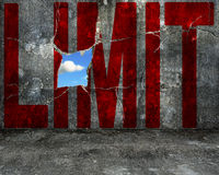 Red LIMIT word on grey grunge concrete wall Royalty Free Stock Photos