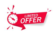 Free Red Limited Offer With Clock For Promotion, Banner, Price. Label Countdown Of Time For Offer Sale Or Exclusive Deal.Alarm Clock Stock Photography - 157942182