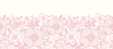 Red line art flowers horizontal seamless pattern Royalty Free Stock Photo