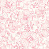 Red line art flowers seamless pattern background Stock Image