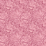 Red line art flowers seamless pattern background Royalty Free Stock Photo